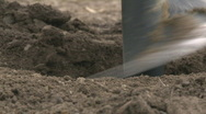 Extreme close up of an auger digging  Stock Footage