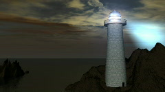 Lighthouse on Rock Cliff 3D Animation Stock Footage