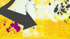 Arrow and paint splatters on yellow BG - stock footage
