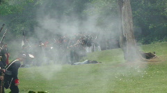 Union infantry line fires volleys  28-1 Stock Footage
