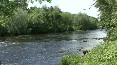 River Tees at Piercebridge near site of Roman bridge Stock Footage