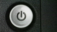 Finger Pushing Power Button On Switch on Electronic Equipment Stock Footage