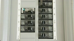 Close Up of Circuit Breakers Turning Power On and Off - stock footage