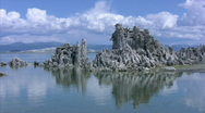 Stock Video Footage of Mono Lake 03 Tufa Towers A LS Loop / Sierra Nevada Mts, California, USA