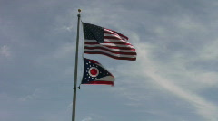 Ohio State and USA Flag Waving Stock Footage