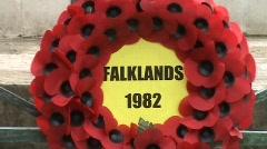 Remembrance wreath Falklands Stock Footage