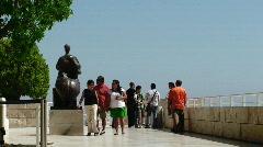 Tourists on Patio Stock Footage