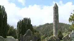 Glendalough Round Tower Graveyard Stock Footage