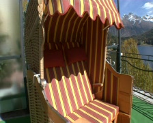 St. Moritz View from Beachchair Stock Footage