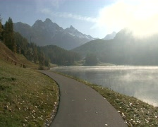St. Moritz Lake Morning 2 - stock footage