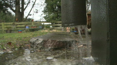 Downpipe and rain Stock Footage