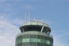 Air Traffic Control Tower On Sunny Day Stock Footage