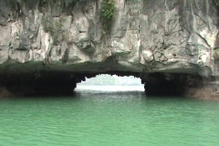 Boat Entering Cave On Halong Bay - Vietnam Stock Footage