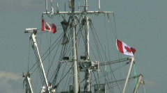 Canadian Flags On Ship Mast (HD 1080p30) Stock Footage