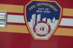 NYC Fire Department 8 Close Up Drive By Stock Footage