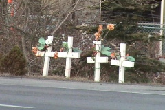 Four Cross Roadside Memorial Stock Footage