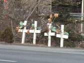 Stock Video Footage of Four Cross Roadside Memorial