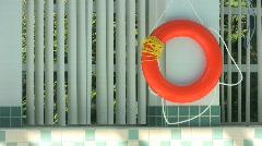 Life Saving Ring At Poolside (HD 1080p30) Stock Footage