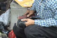 Shoe Repair Man In Bangkok, Thailand Stock Footage
