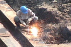 Sparks From Cutting With A Torch On Construction Site Stock Footage