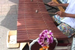 Playing A Wooden Thai Xylophone-Thai Instrument In Bangkok Stock Footage