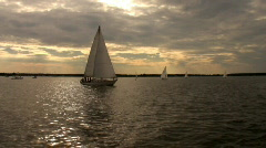Backlit Sails Stabilized Stock Footage