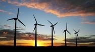 Looped wind turbines with alpha channel Stock Footage