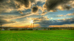 Sunset over power plant hdr time lapse Stock Footage