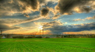 Stock Video Footage of Sunset over power plant hdr time lapse