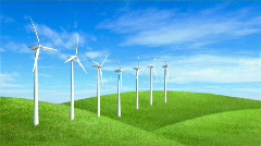 Wind Turbines on hill- Loopable, Alpha Channel included. Stock Footage