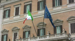 Italian and EU flags Stock Footage