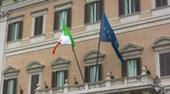 Stock Video Footage of Italian and EU flags