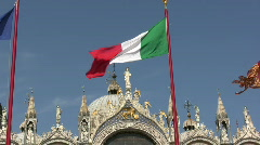 Italian flag in Venice Stock Footage
