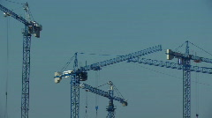 Building site cranes 8 Stock Footage