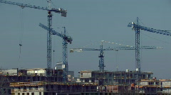 Building site cranes 1 Stock Footage