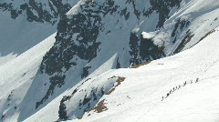 Scenic snowy mountain range 3 with mountaineers - stock footage