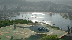 Helicopter taking off in Rio de Janeiro Stock Footage