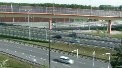 Road interchange with noise barriers 5 Stock Footage