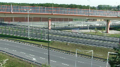 Road interchange with noise barriers 4 - timelapse Stock Footage
