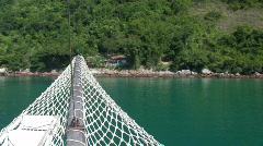 Island shore from aboard a ship Stock Footage