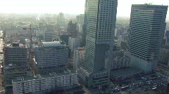 Downtown Warsaw aerial view 2 Stock Footage