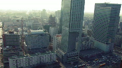 Downtown Warsaw aerial view 1 Stock Footage