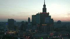 Warsaw skyline - evening 2 Stock Footage