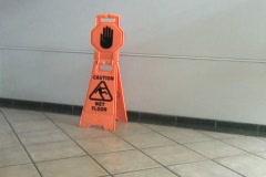 Caution Wet Floor Sign Stock Footage