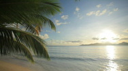 Tropical beach just before sunset Stock Footage