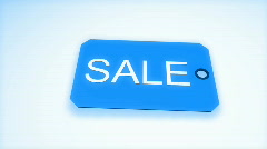 3d sale tag falling on the ground in slow motion Stock Footage