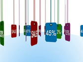 Stock Video Footage of 3d animation - rotating colorful sale and percentage tags - loopable - include a