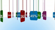 3d animation - rotating colorful sale and percentage tags - loopable - include a Stock Footage
