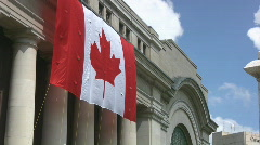 Big Canadian Maple Leaf Flag On The Government Conference Centre Ottawa Stock Footage