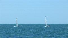 Sailing vessel in a sea bay. On Black sea Stock Footage